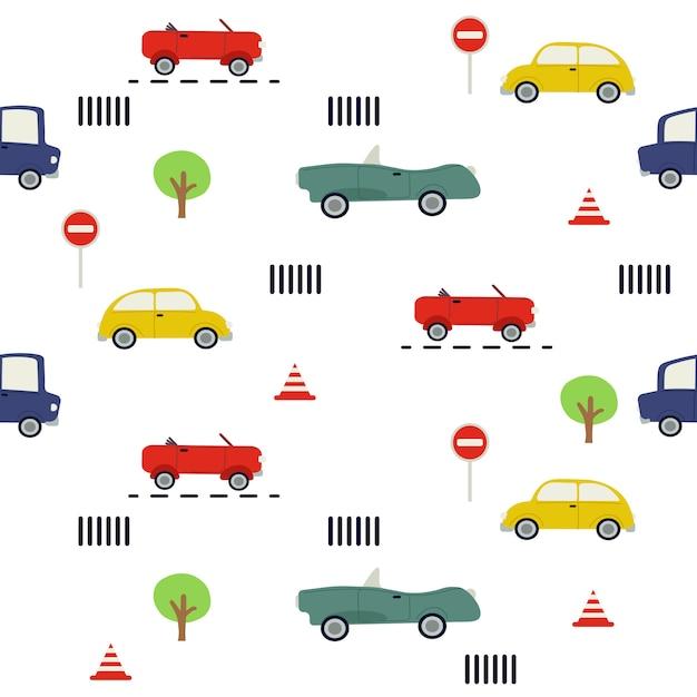 車のシームレスなパターン。車と交通標識のパターン Premiumベクター