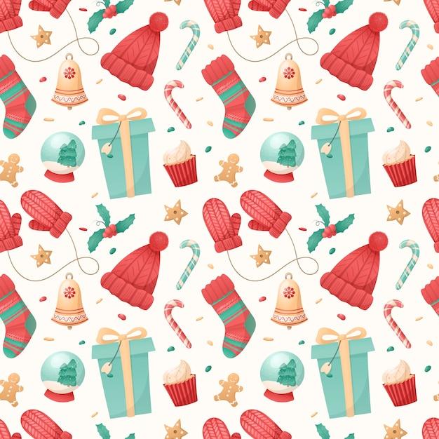 크리스마스의 완벽 한 패턴 흰색 배경에 고립 된 아이콘. 프리미엄 벡터