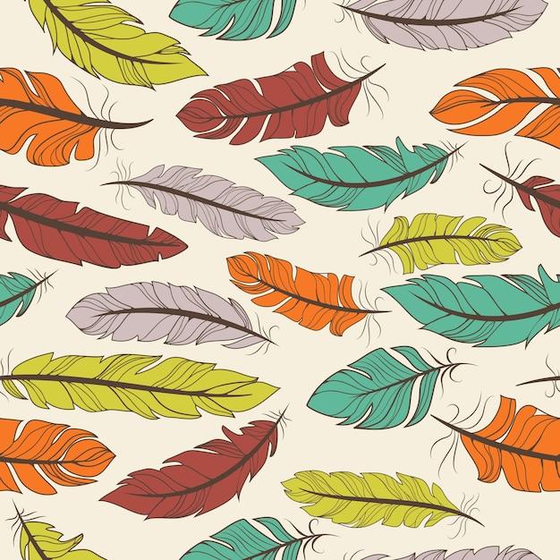 ランダムな配置と壁紙のテキスタイルやタイルのベクトル図に適した正方形の形式でカラフルな鳥の羽のシームレスなパターン Premiumベクター
