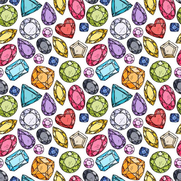 カラフルな宝石のシームレスなパターン。 Premiumベクター