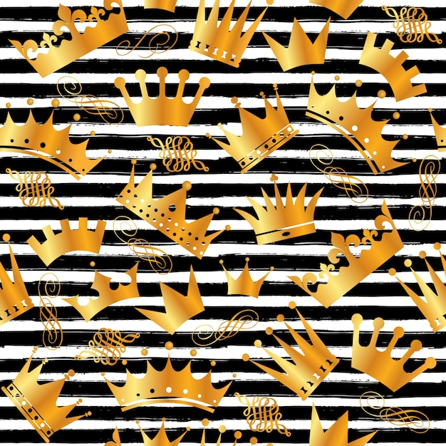Seamless pattern of crowns Free Vector