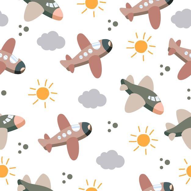 太陽と雲とかわいい飛行機のシームレスなパターン Premiumベクター
