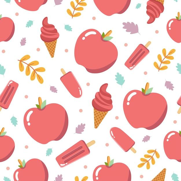 リンゴの果実とかわいいリンゴのアイスクリームのシームレスなパターン Premiumベクター