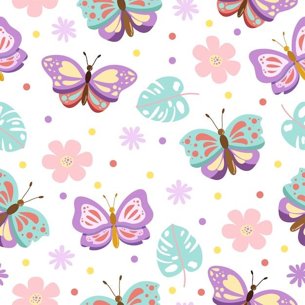 花とかわいい蝶の漫画のシームレスなパターン Premiumベクター