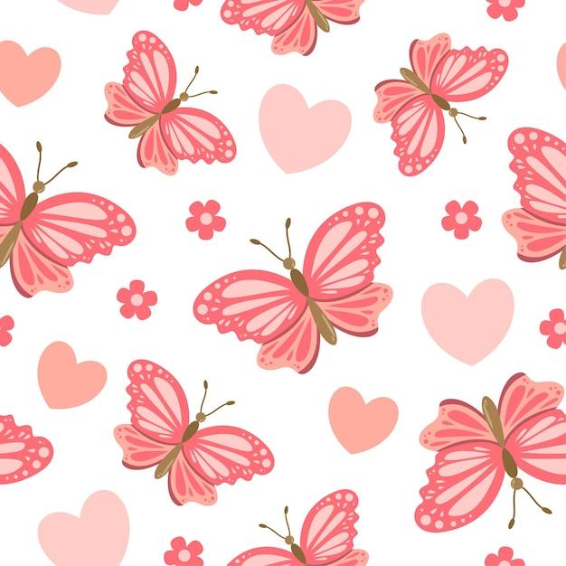 心と花とかわいい蝶の漫画のシームレスなパターン Premiumベクター