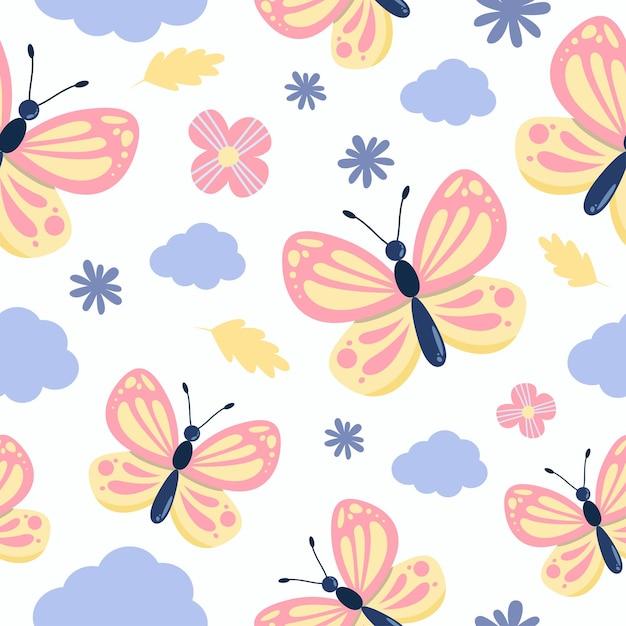 花と雲とかわいい蝶のシームレスなパターン Premiumベクター