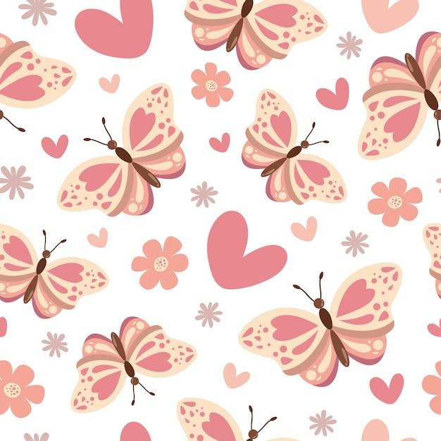 心と花とかわいい蝶のシームレスなパターン Premiumベクター