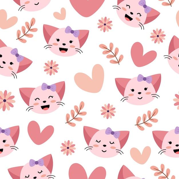 心と花とかわいい猫のシームレスなパターン Premiumベクター