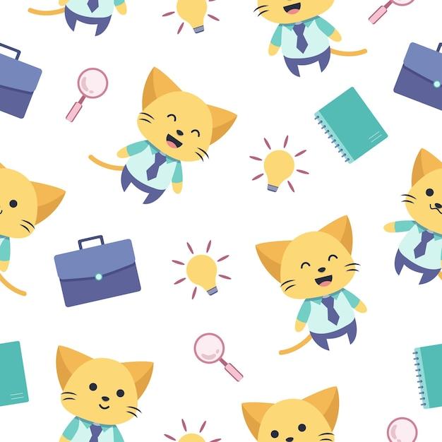 かわいい猫の漫画のシームレスなパターンが仕事に行きます Premiumベクター
