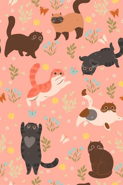 귀여운 새끼 고양이 및 나비의 완벽 한 패턴입니다. 프리미엄 벡터