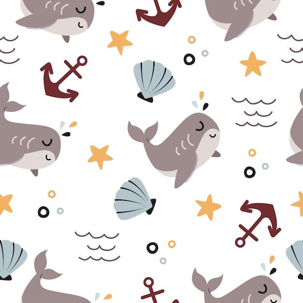 Бесшовный фон из мультфильма милый кит в океане Premium векторы
