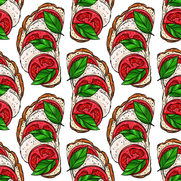 Бесшовный фон из вкусных тостов на завтрак с помидорами, листьями базилика и моцареллой. Premium векторы