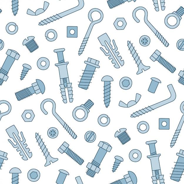 ファスナーのシームレスなパターン。落書きスタイルのボルト、ネジ、ナット、ダボ、リベット。手描きの建築材料。 Premiumベクター