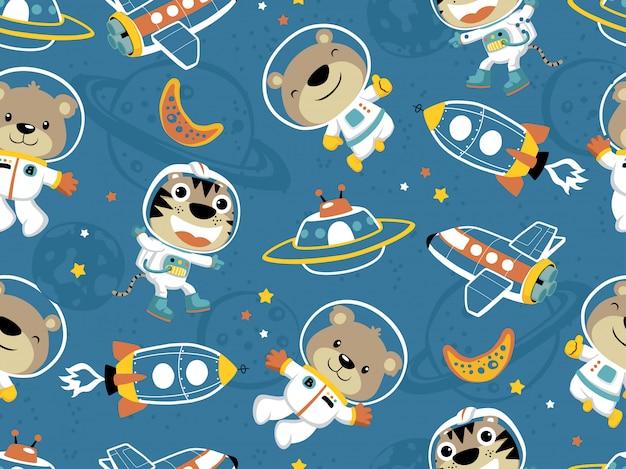 外側、宇宙輸送で面白い宇宙飛行士のシームレスパターン Premiumベクター
