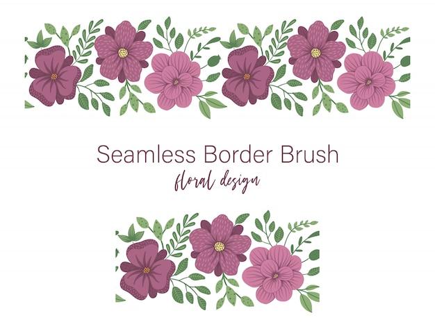 Бесшовные модели из зеленых листьев с фиолетовыми цветами. цветочный орнамент границы. модная плоская иллюстрация Premium векторы
