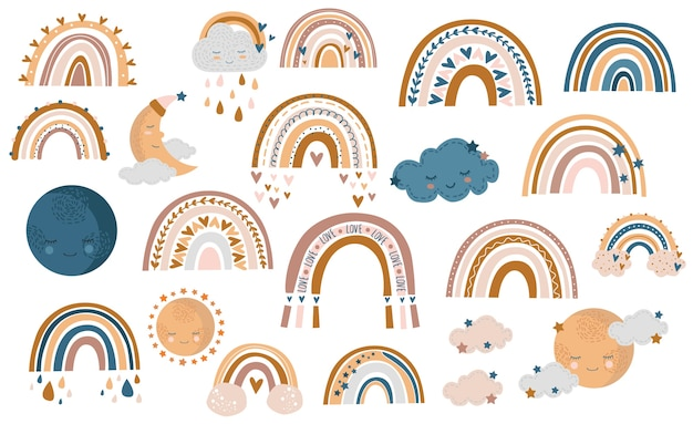 손의 완벽 한 패턴 그린가 무지개, 구름과 꿀, 흰색 바탕에 노란색과 갈색 색상에 빗방울 프리미엄 벡터