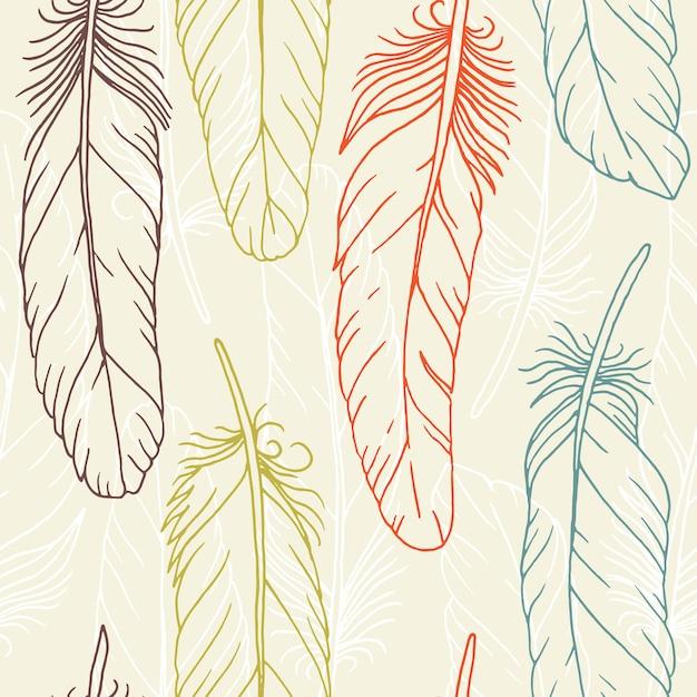手描きの羽のシームレスパターン Premiumベクター