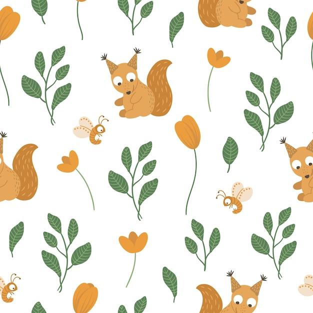 葉とオレンジ色の花と手描きの面白い赤ちゃんリスのシームレスなパターン。 Premiumベクター