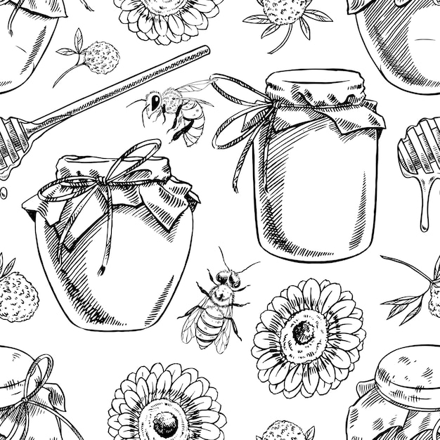 ミツバチ、ミツバチ、花のシームレスなパターン。手描きイラスト Premiumベクター