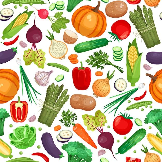 白い背景の上の大量の野菜のシームレスなパターン 無料ベクター