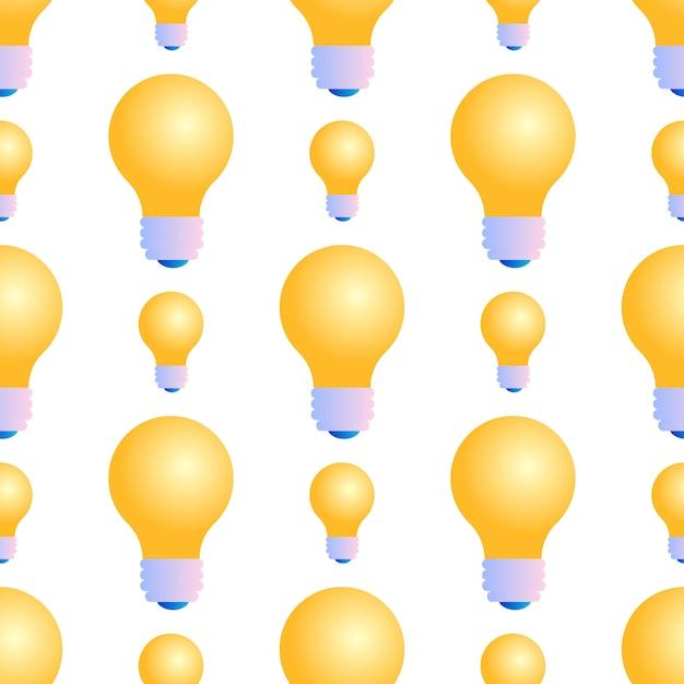 白い背景の上の電球のシームレスパターン 無料ベクター