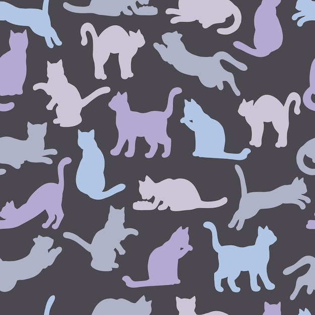 猫のマルチカラーシルエットのシームレスパターン Premiumベクター