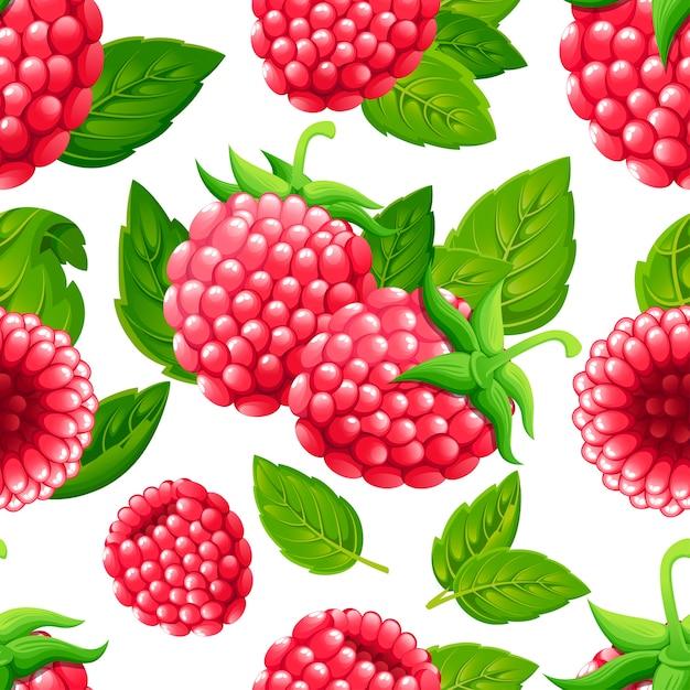 ラズベリーのシームレスなパターン。緑の葉とラズベリーのイラスト。装飾的なポスター、エンブレム天然物、ファーマーズマーケットのイラスト Premiumベクター