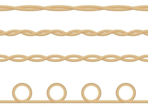 현실적인 항해 밧줄 흰색 절연의 완벽 한 패턴입니다. 인쇄 또는 섬유 제품, 포장지의 질감. 프리미엄 벡터