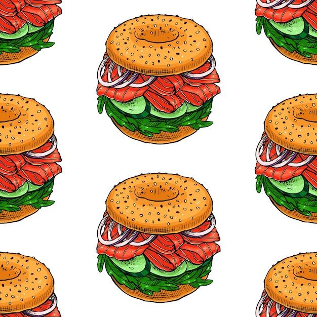 Бесшовный фон из бутербродов. рисованная иллюстрация Premium векторы