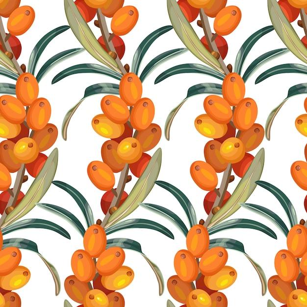 海クロウメモドキのシームレスパターン 無料ベクター