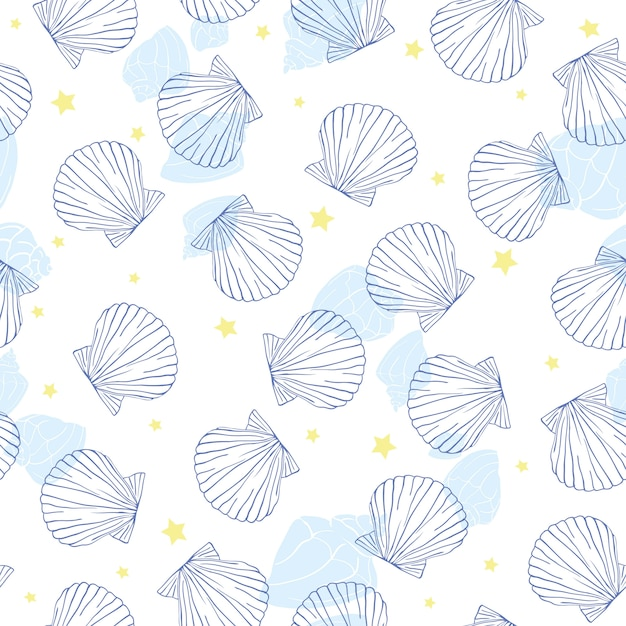 貝殻のシームレスなパターン。 Premiumベクター