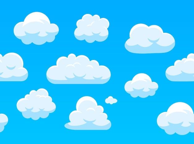 하늘에 흰 구름의 완벽 한 패턴입니다. 프리미엄 벡터