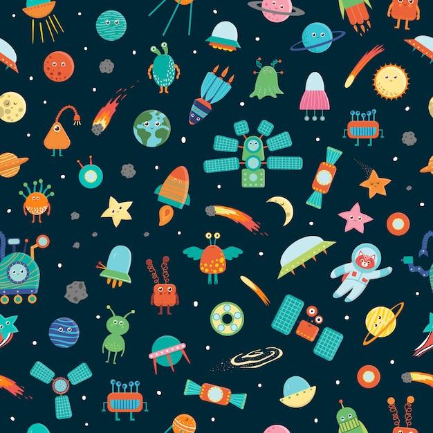 スペースオブジェクトのシームレスなパターン。惑星、星、宇宙船、衛星、月、太陽、小惑星、宇宙飛行士、エイリアン、ufoの明るく陽気な繰り返し背景 Premiumベクター