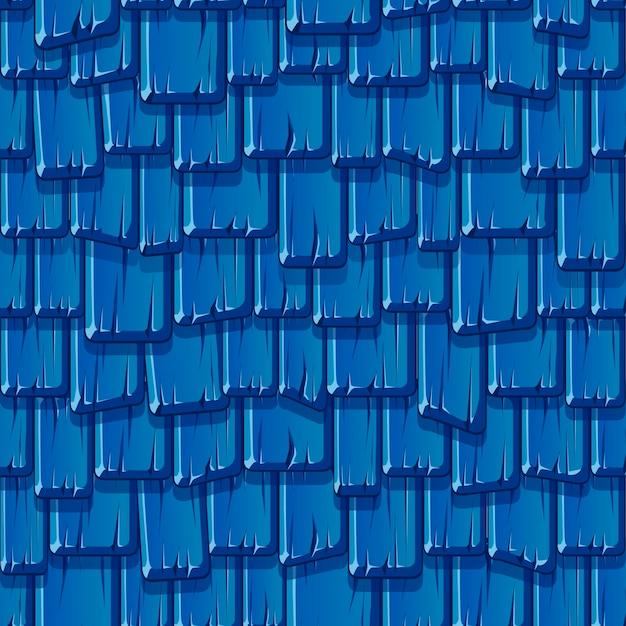 오래 된 나무 파란 지붕의 완벽 한 패턴입니다. 질감 빈티지 지붕. 무료 벡터