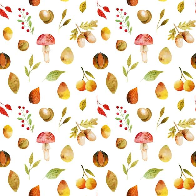 Бесшовный фон из акварельных осенних листьев деревьев, осенних лесных ягод, желудей и грибов Premium векторы