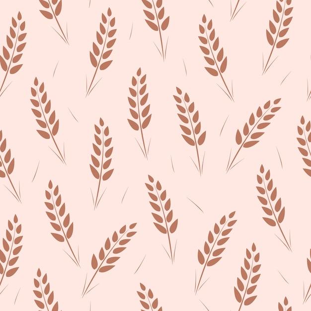 小麦の穂のシームレスなパターン。 Premiumベクター