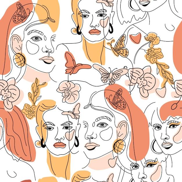 梨花のシームレスパターンに直面する最小限のラインスタイルol線画。幾何学的形状の抽象的な現代的な色のコラージュ。女性の肖像画。美容コンセプト、tシャツプリント、カード、ポスター、ファブリック。 Premiumベクター