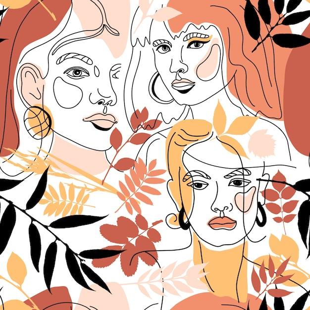 Бесшовные модели женщин сталкиваются с минимальным стилем линии Premium векторы