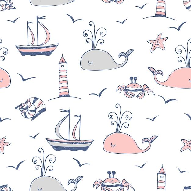 Безшовная картина на морской теме с кораблями и китами. Premium векторы