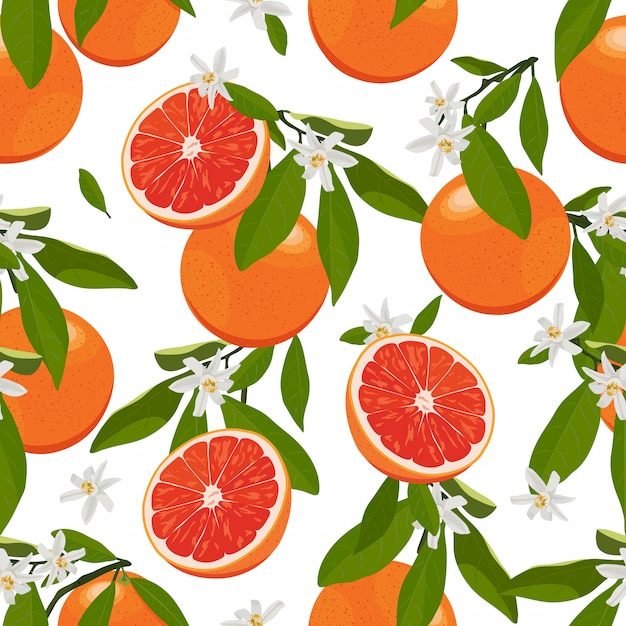 Seamless pattern orange fruits with flowers and leaves. grapefruit Premium Vector