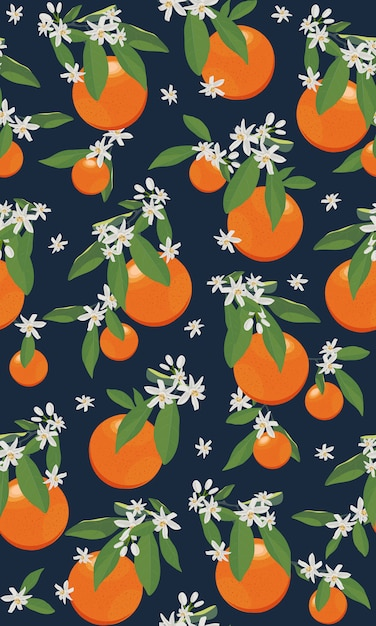 Seamless pattern orange fruits with flowers and leaves Premium Vector