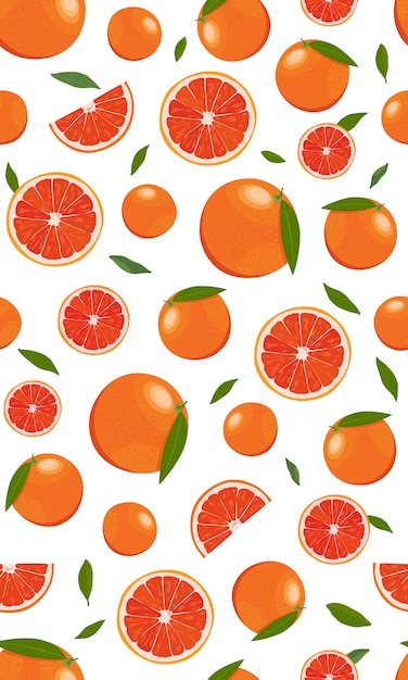 Seamless pattern orange fruits  with leaves Premium Vector