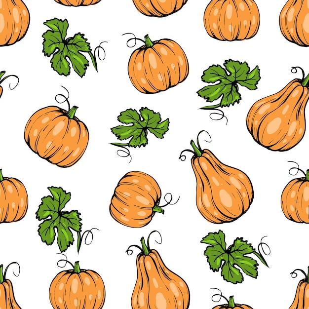 완벽 한 패턴, 잎 할로윈 오렌지 호박 다른 모양, 손으로 그린 된 스케치 아트 프리미엄 벡터