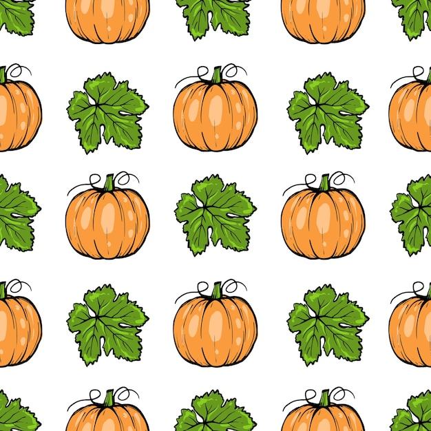 완벽 한 패턴, 호박 잎 할로윈, 손으로 그린 된 스케치 아트 프리미엄 벡터