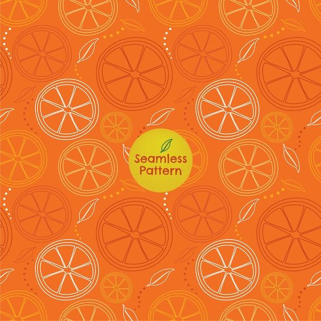 Seamless pattern of orange-slice outlines Vector | Premium