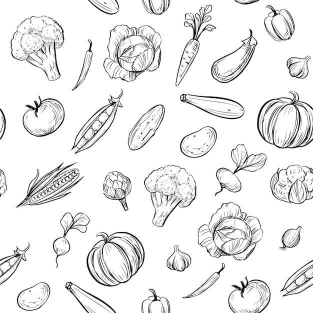 Бесшовные модели. набросайте овощи. иллюстрация каракули. Premium векторы