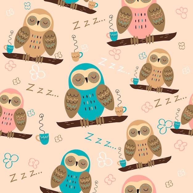 Seamless pattern. owls dream. cute style. pajama fabric. Premium Vector