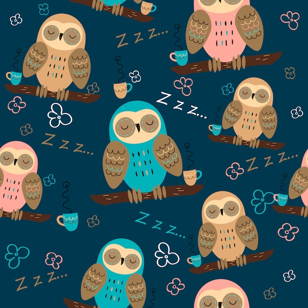 Seamless pattern of owls dreaming Premium Vector