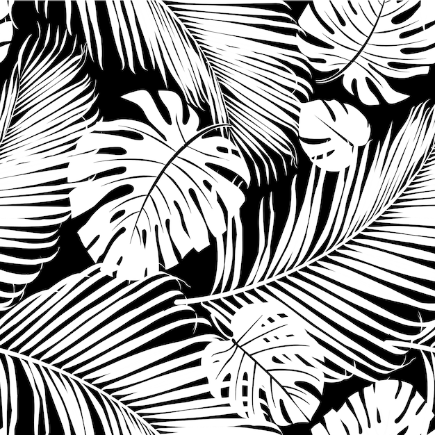 Seamless pattern palm tree leaves in black on white premium vector