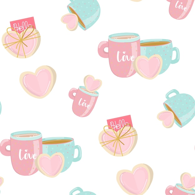 Seamless pattern in pastel colors with sweet cookies Premium Vector